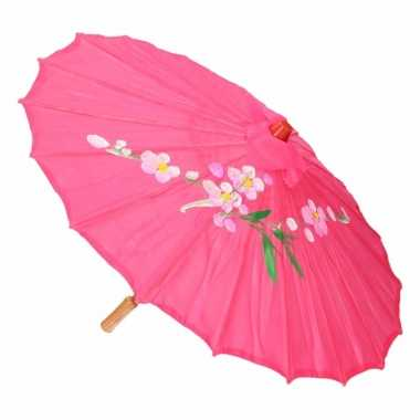Goedkope chinese stijl paraplu fuchsia