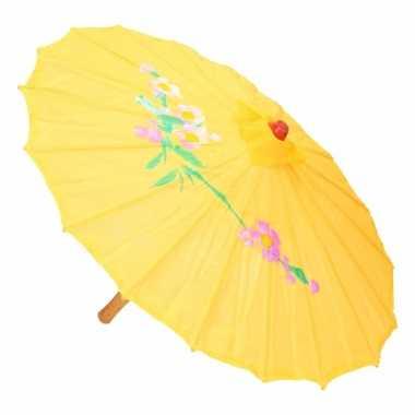 Goedkope chinese stijl paraplu groot geel