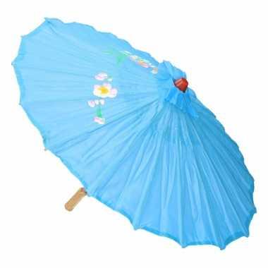 Goedkope chinese stijl paraplu groot licht blauw