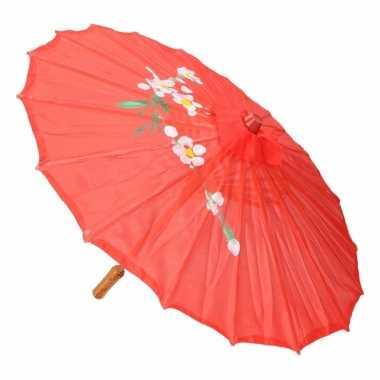 Goedkope chinese stijl paraplu groot rood