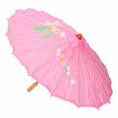 Goedkope chinese stijl paraplu groot roze