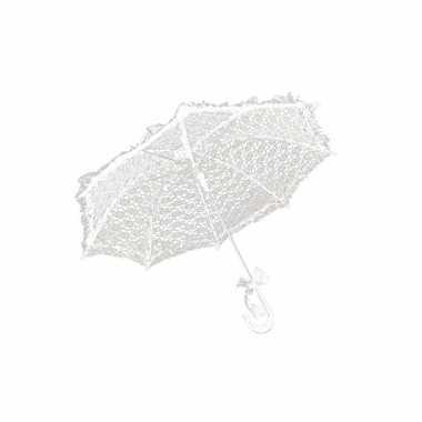 Goedkope kanten parasolletje wit 70 cm