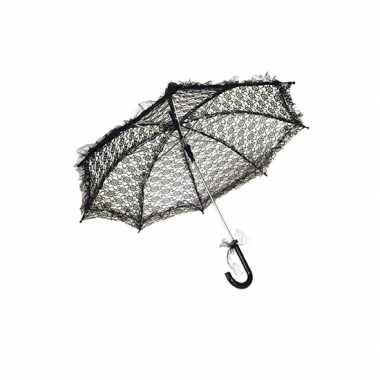 Goedkope kanten parasolletje zwart 70 cm