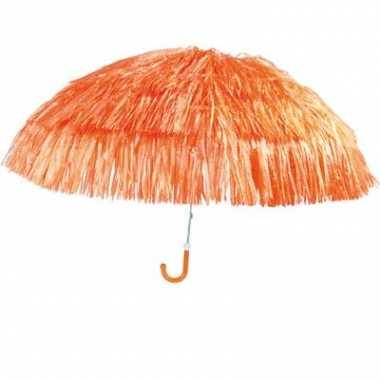 Goedkope  Leuke oranje parasol met sliertjes