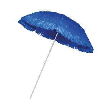 Goedkope rieten strand parasol blauw