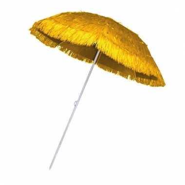 Goedkope rieten strand parasol geel