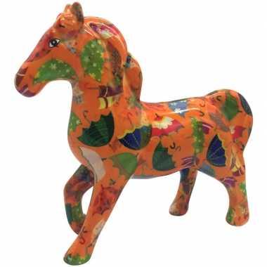 Goedkope spaarpot paard oranje met paraplu 21 cm