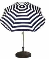 Goedkope vulbare parasol met blauw wit gestreepte parasol